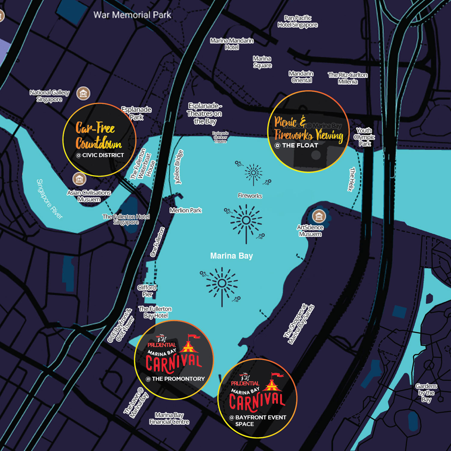 Marina Bay Countdown Singapore Map