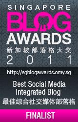 Finalist for Singapore Blog Awards 2011 Best Social Media Integrated Blog