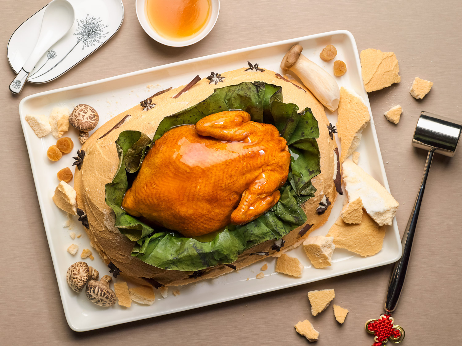 Salt-Crusted Traditional Stewed Chicken with Dried Scallops in Lotus Leaf ( 荷香元贝富贵鸡 )