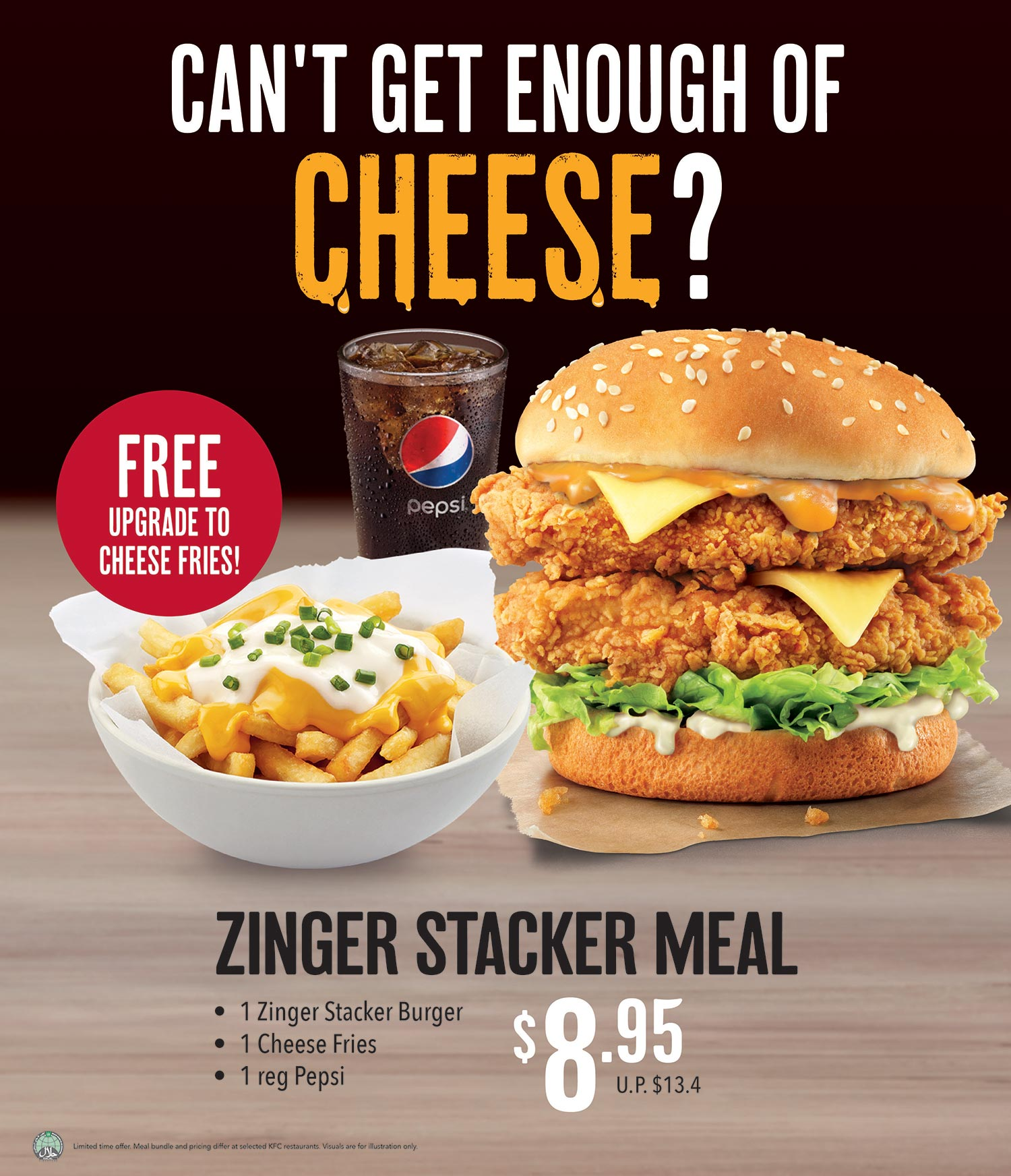Get Cheesier with the Cheesy Zinger Stacker Meal!