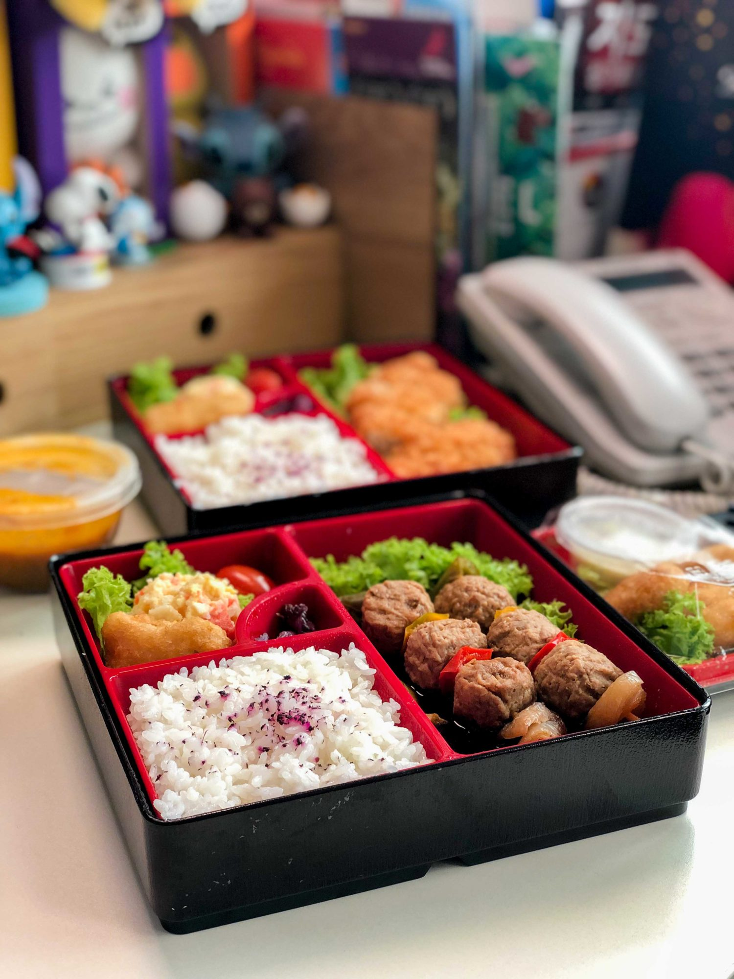 Meat-free Tsukune Bento $13.80 Quorn® meatballs grilled to juicy perfection, served with Ichiban Bento's house special yakitori sauce, Quorn® nugget, potato salad & rice.