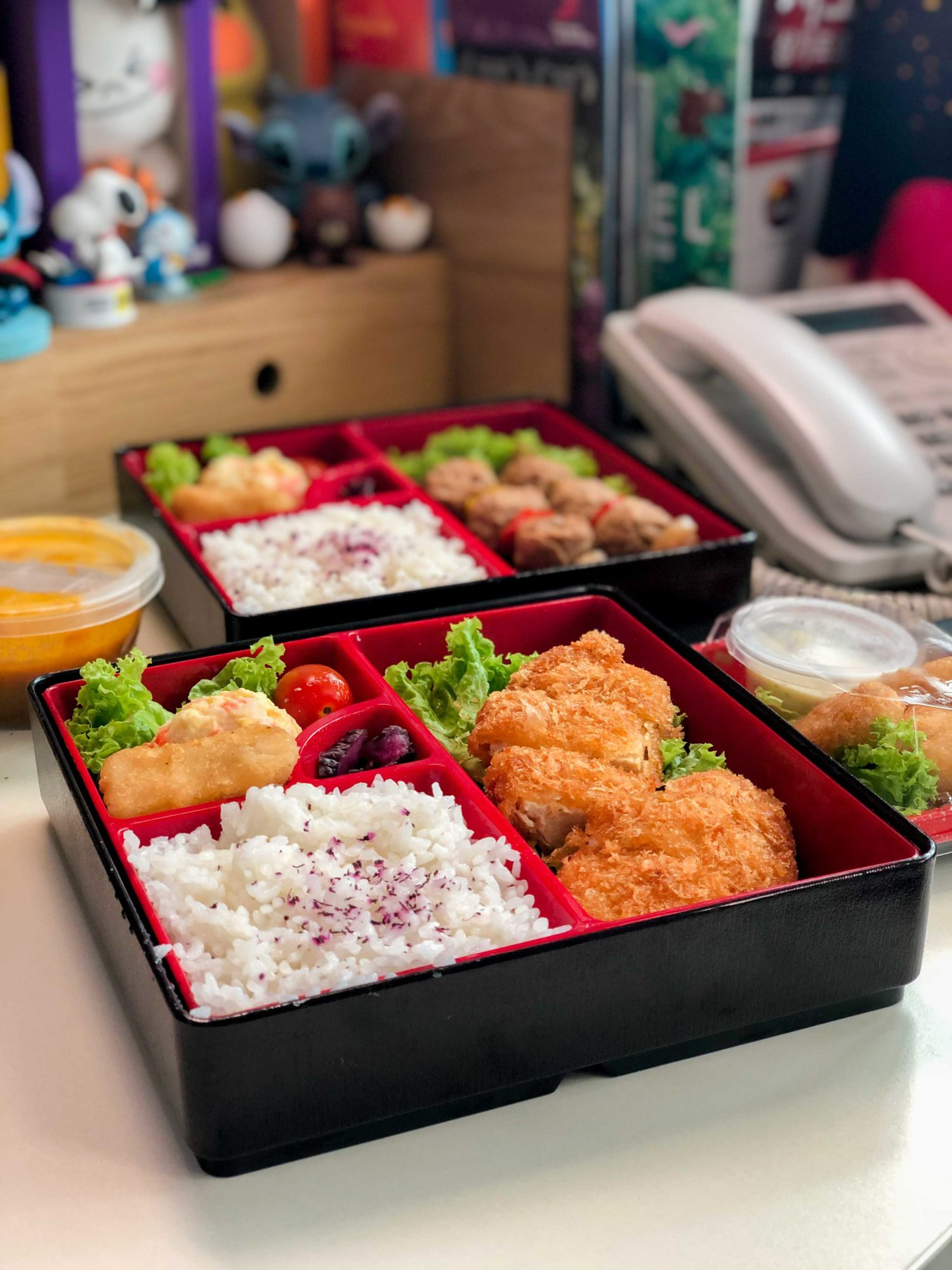 Meat-free Katsu Curry Bento $10.80 Crispy panko-breaded Quorn® fillet served with Japanese curry, Quorn® nugget, potato salad & rice.