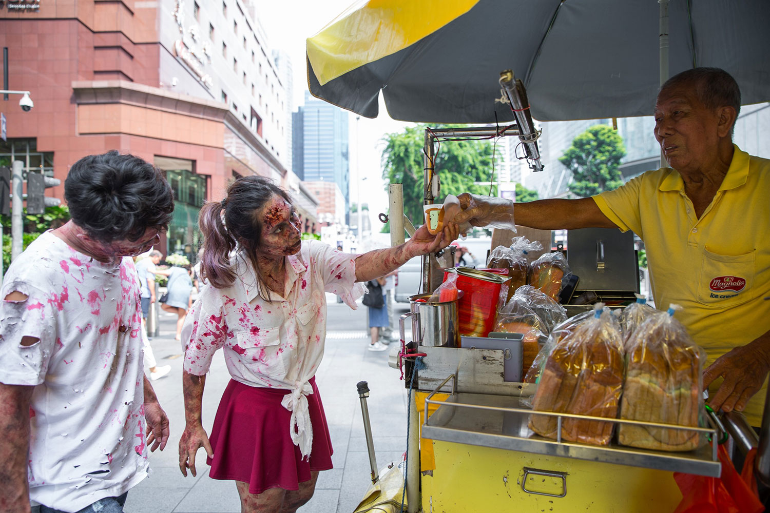 Zombies-purchasing-Ice-Cream-Bread-at-Orchard-Road
