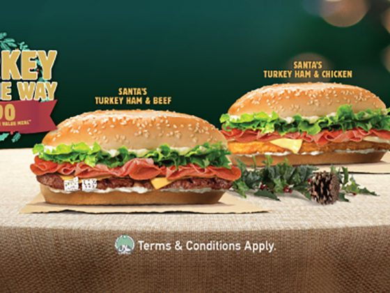 Burger King Santas's Turkey Ham & Beef, and Santas's Turkey Ham & Chicken burgers