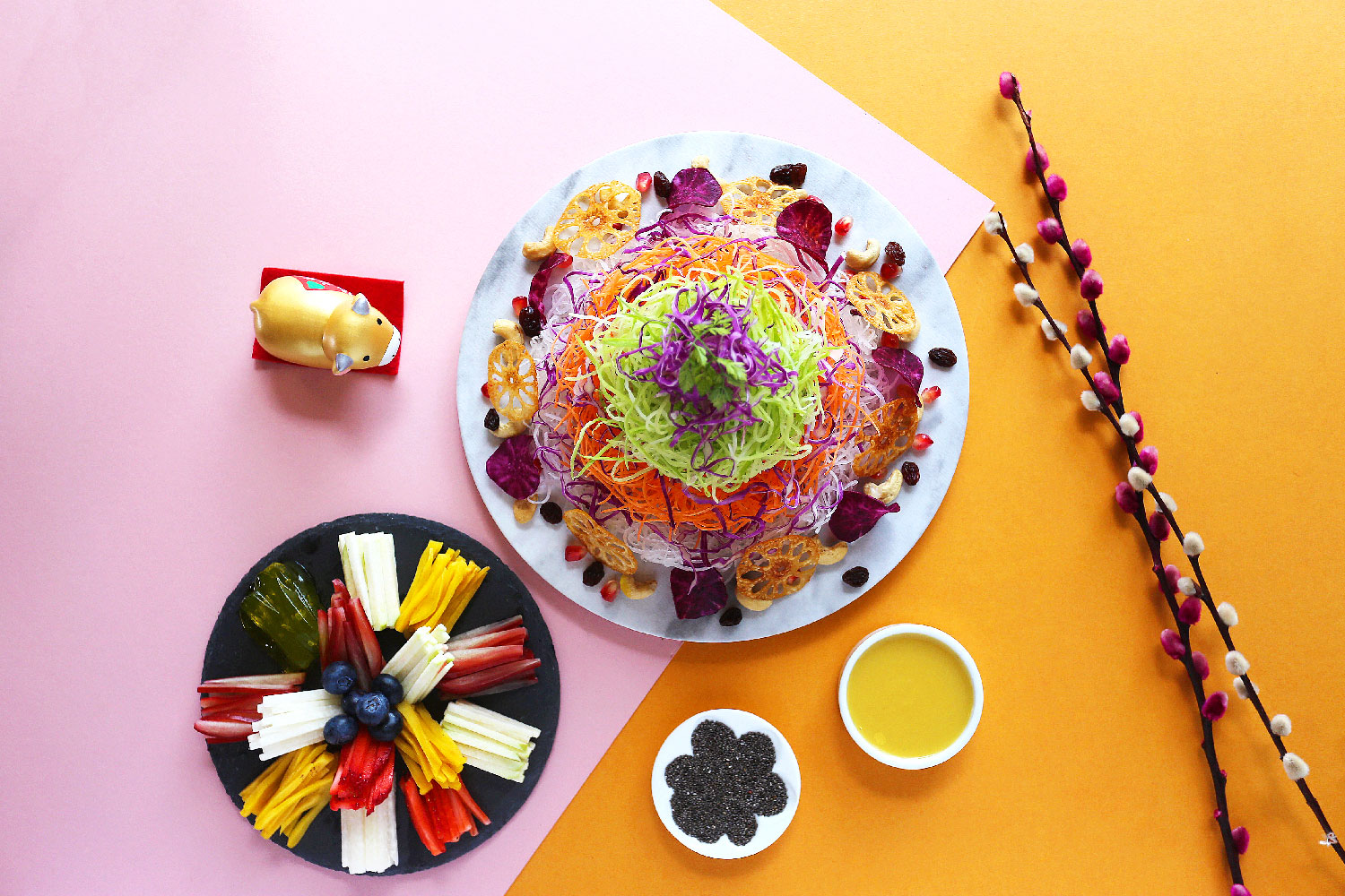 Blossoms-Fresh-Fruits-Yu-Sheng-with-Chia-Seeds-&-Pineapple-Sauce